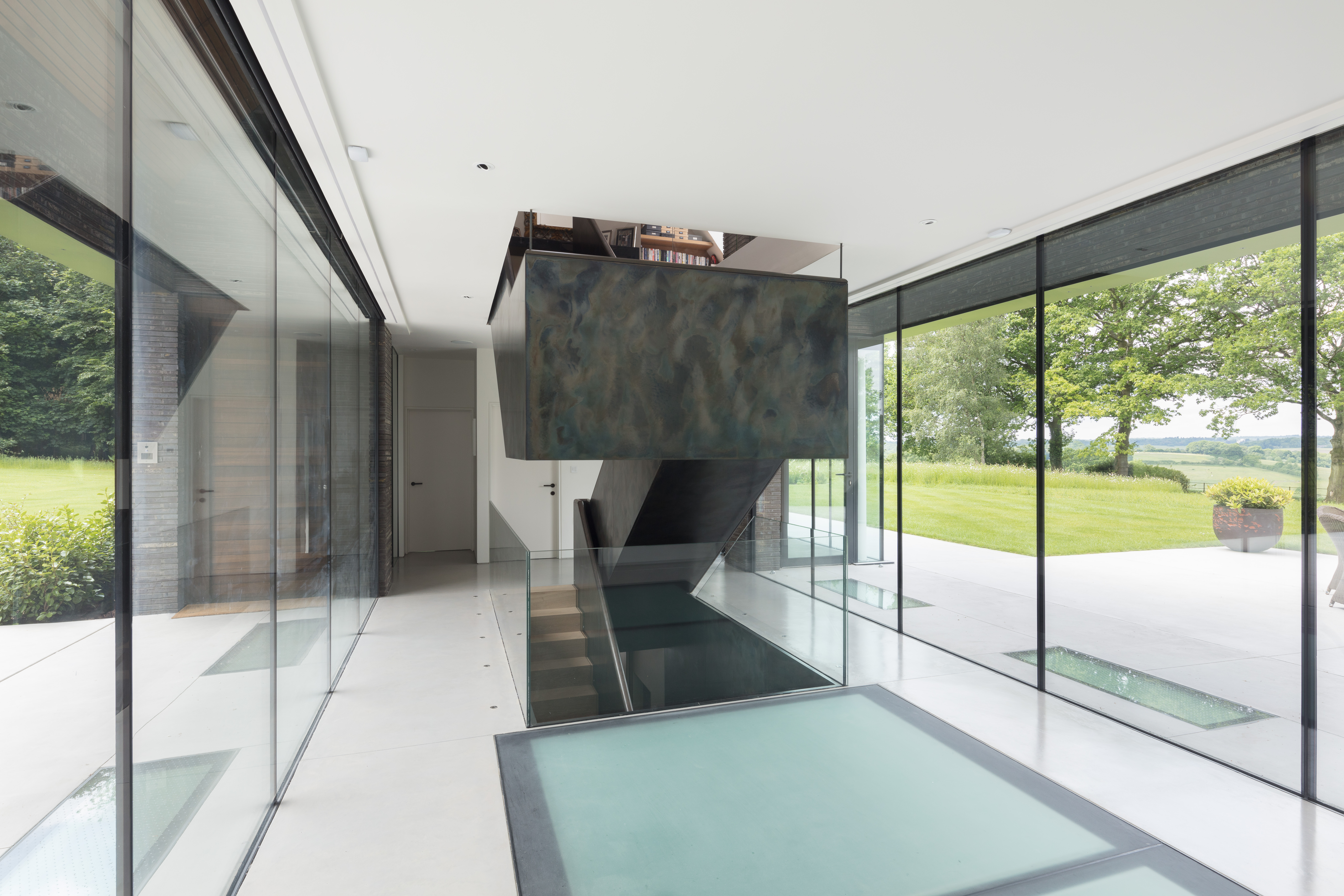 Sandblasted Glass Walk on Floor