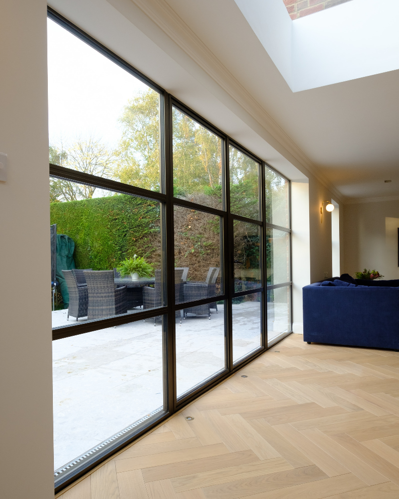 steel look patio doors to modern extension