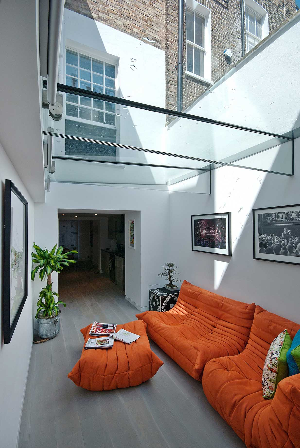 structural glass roof atrium in modern home