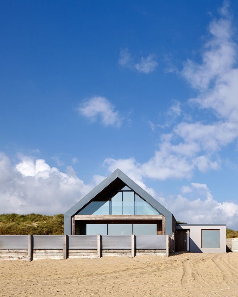 beach house with architectural glass