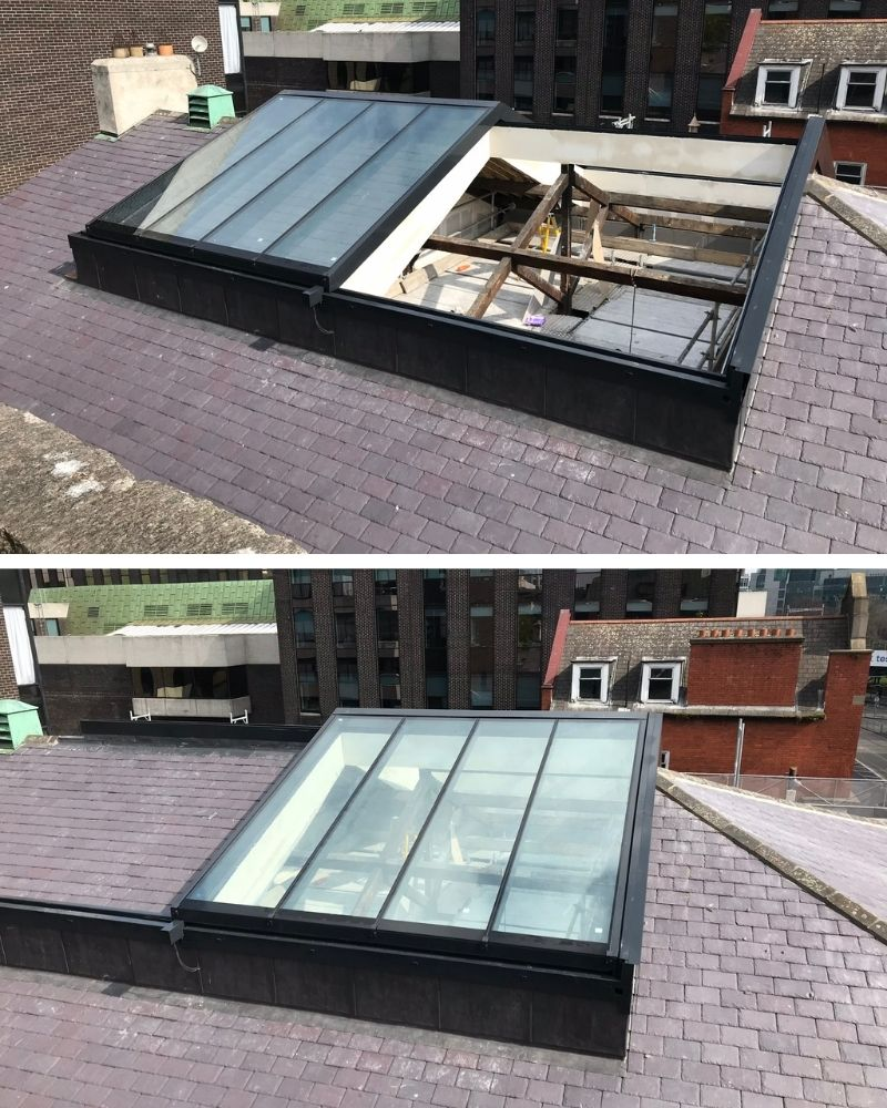 an opening ridge rooflight shown open and closed
