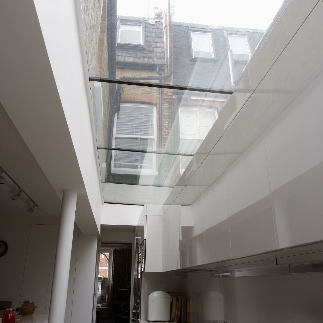 glass roof to side infill extension in london