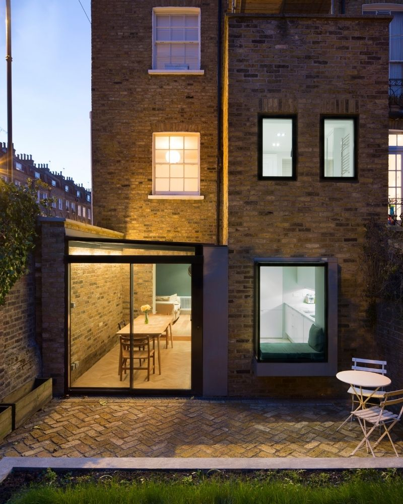 glazed side infill extension shown from outside in london
