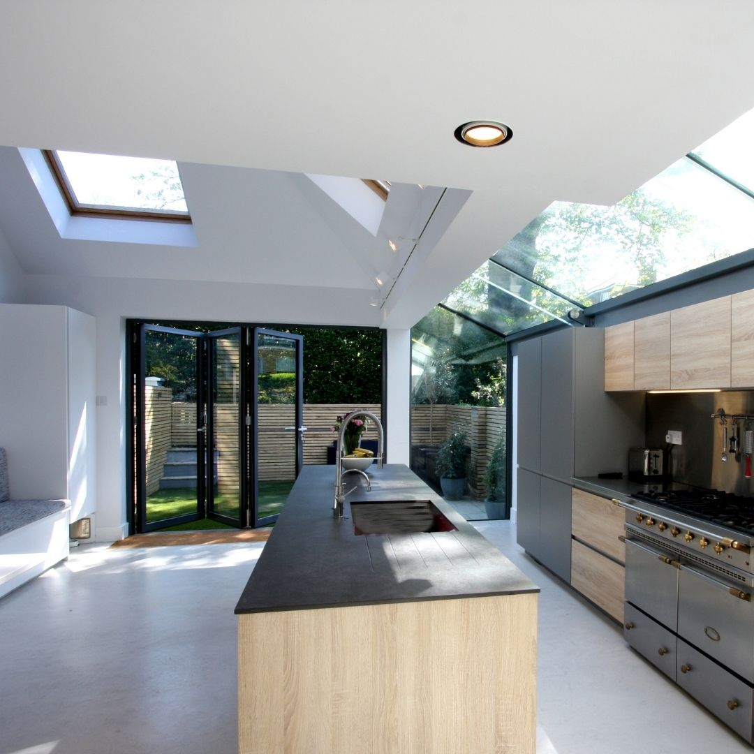 an internal view of a side return extension with bifolds